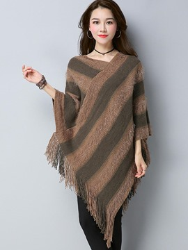 Ericdress Asymmetric Stripe Tassel Cape