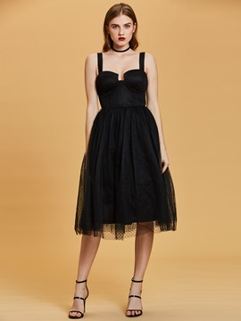 Straps A Line Black Cocktail Dress
