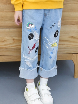 Ericdress Cartoon Print Ankle Length Girls' Jeans