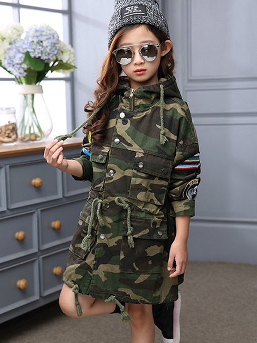 Ericdress Camouflage Hooded Mid-length Girl's Jacket