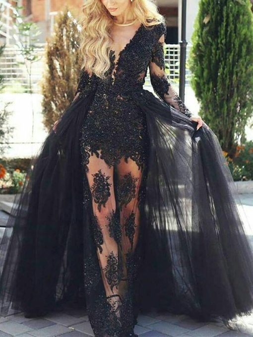 Ericdress Sheath Appliques Lace Long Sleeves Evening Dress With Detachable Train