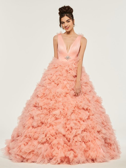 Ericdress V Neck Pleats Beaded Ruffles Ball Quinceanera Dresss