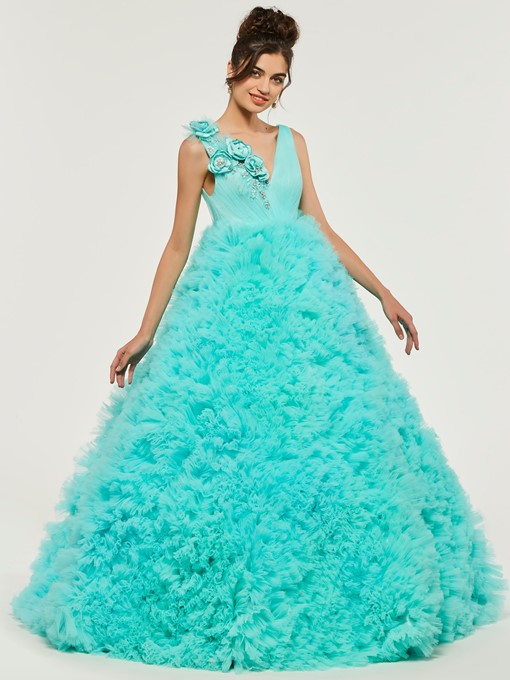Ericdress V Neck Puffle Deep Back Ball Quinceanera Dress