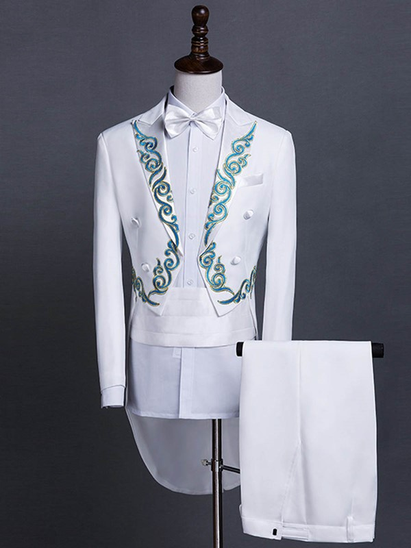 Ericdress Slim Full Length Embroidery Mens Suit