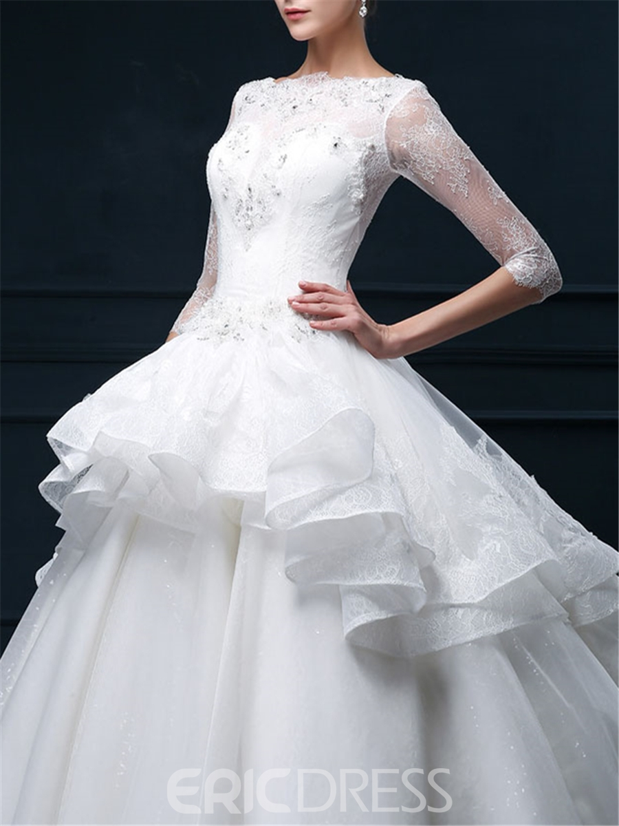 Ericdress Bateau Lace Wedding Dress with Sleeves