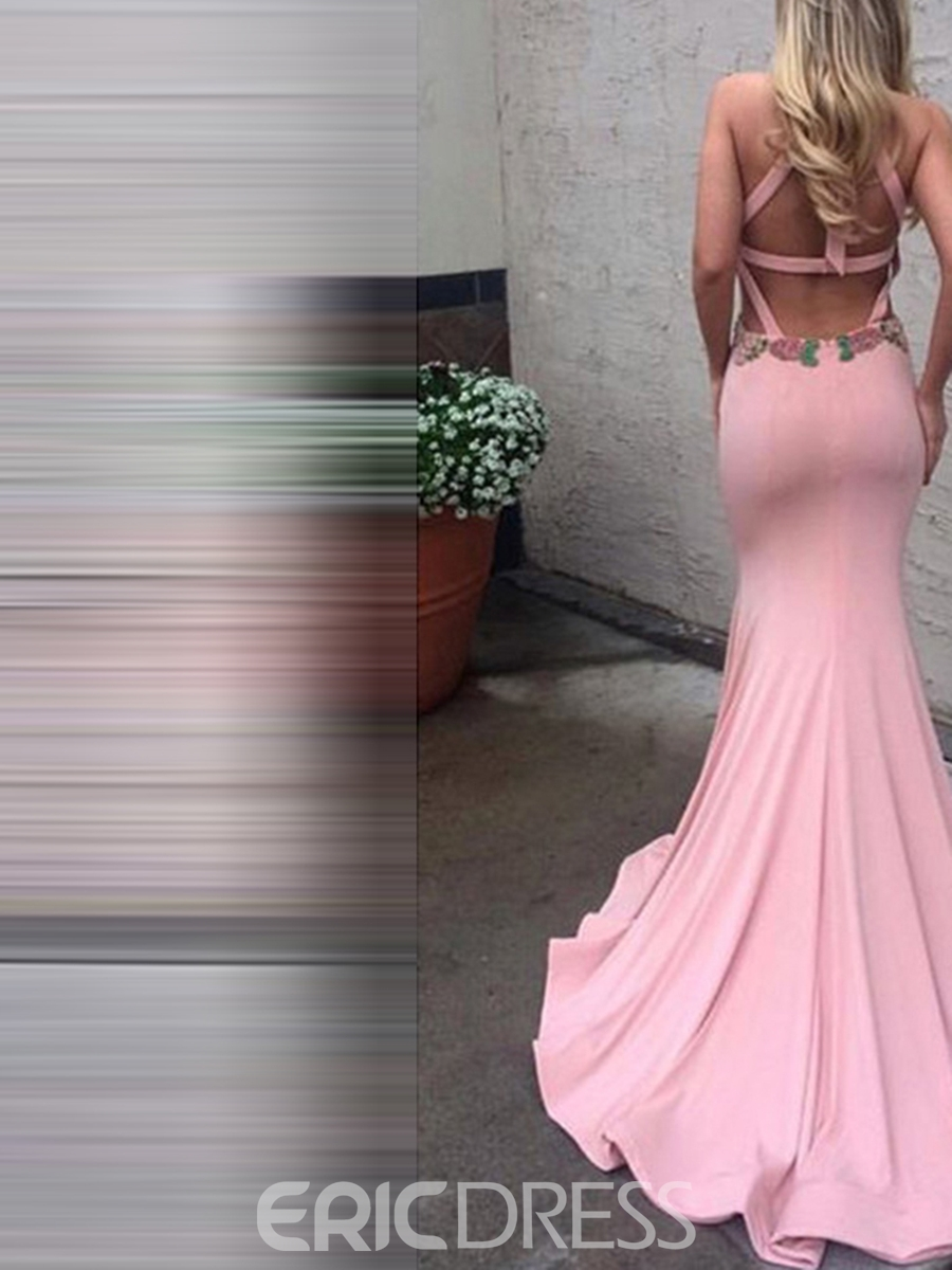 Ericdress Halter Neck Hollow Mermaid Evening Dress With Court Train