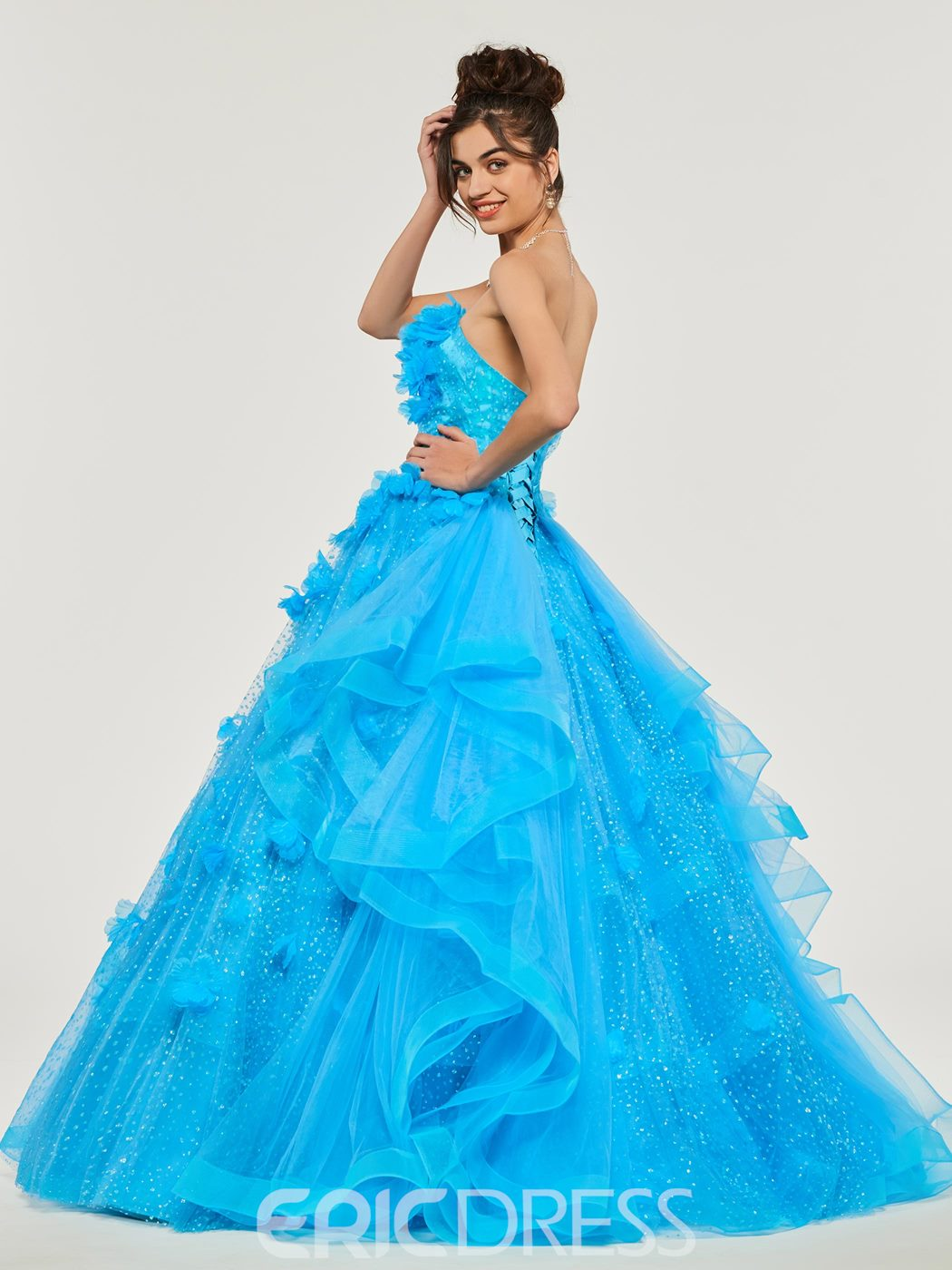Ericdress Strapless Empire Flower Applique Ball Quinceanera Dress