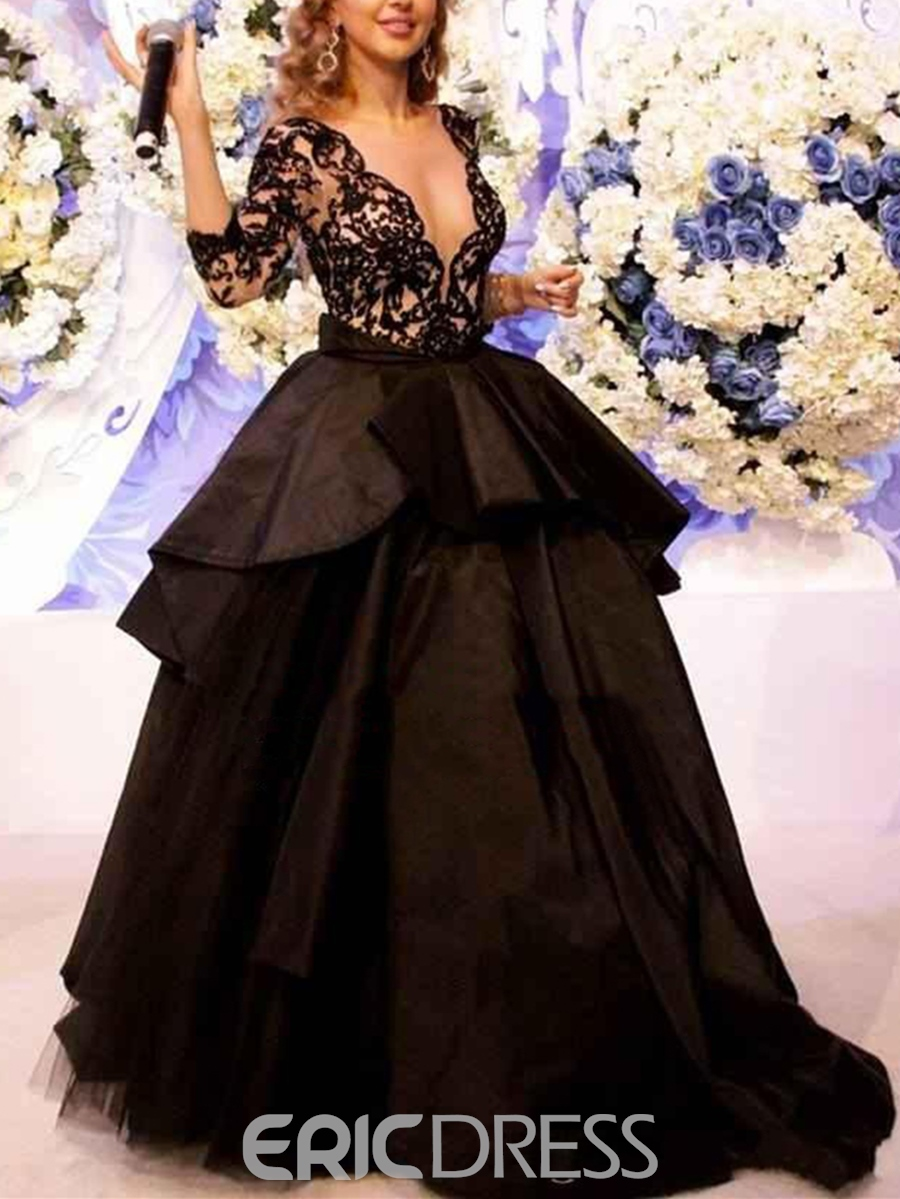 Ericdress Ball Gown Lace Pick-Ups Sweep Train Evening Dress