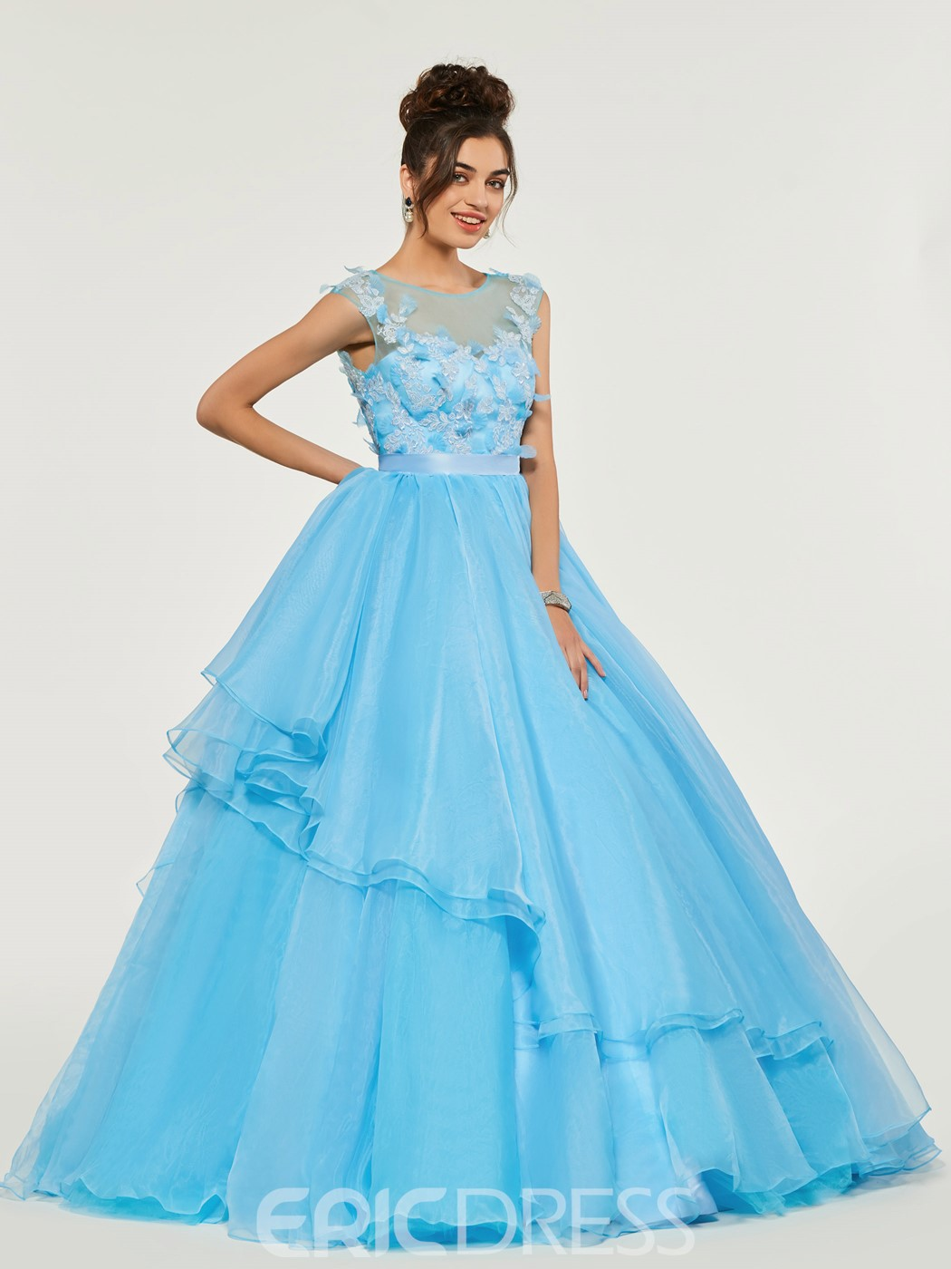 Ericdress Cap Sleeve Applique Ball Quinceanera Dress With Lace-Up Back