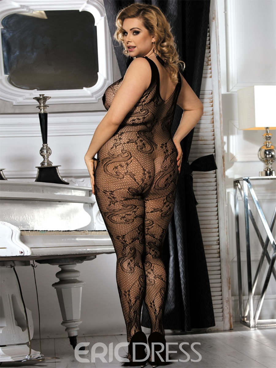 Ericdress Tight Wrap Black Sleeveless See-Through Pantyhose
