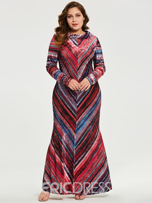 Ericdress Plus Size Floor-Length Sequins Long Sleeve Zipper Expansion Dress