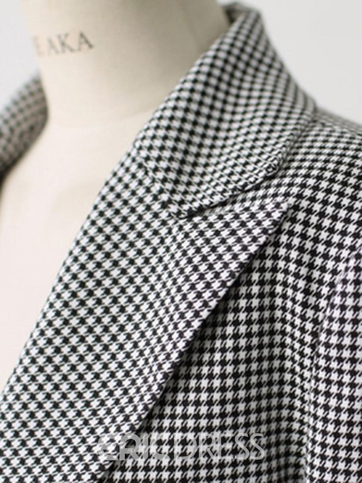 Ericdress Slim Houndstooth One Button Women's Blazer
