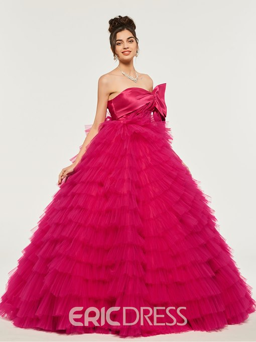Ericdress Strapless Ruffles Empire Quinceanera Dress With Bowknot