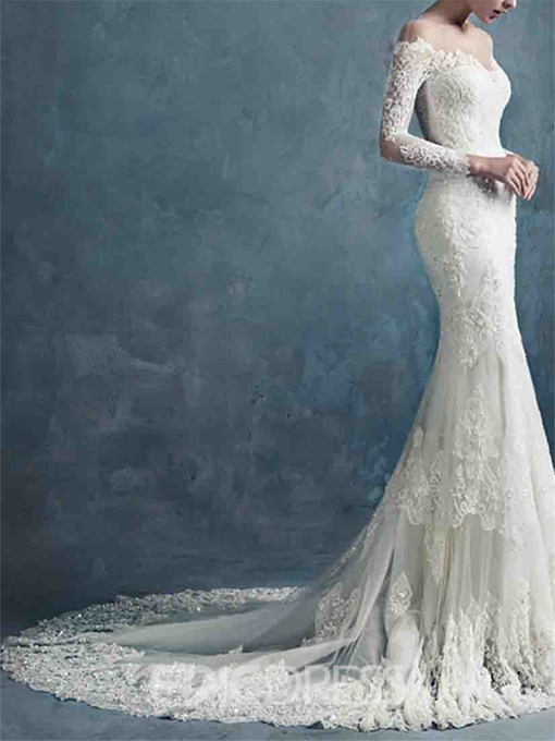 Ericdress Illusion Neck Long Sleeves Lace Mermaid Wedding Dress