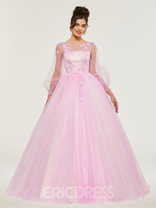 Ericdress Applique Long Sleeve Quinceanera Dress With Button
