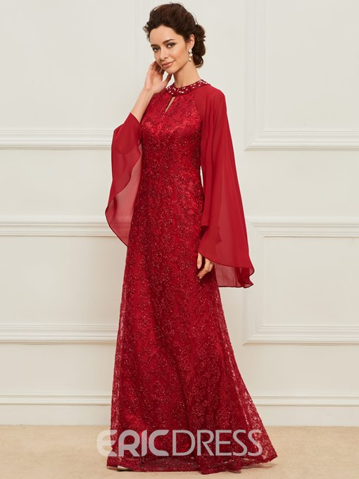 Ericdress Beaded Jewel Neck Lace Mother of the Bride Dress