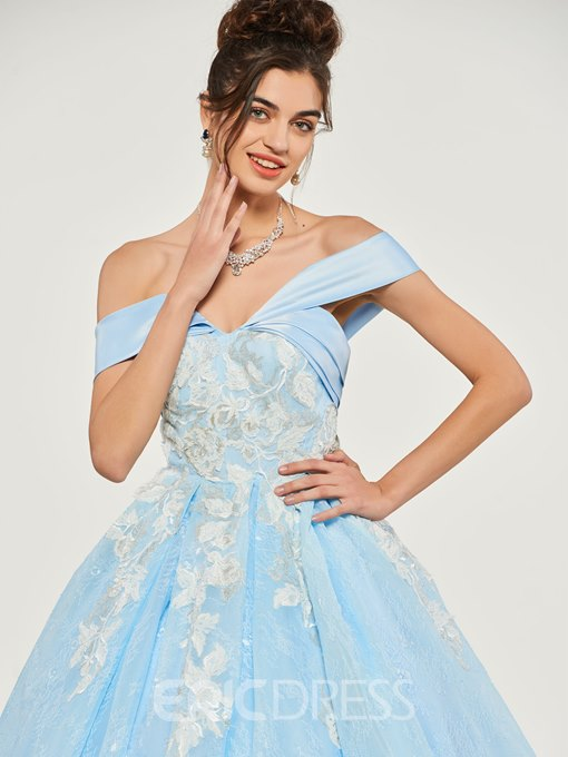 Ericdress Off The Shoulder Short Sleeve Lace Quinceanera Dress