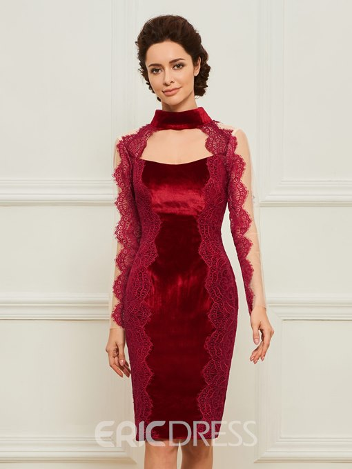 Ericdress Sheath Knee Length Velvet Mother of the Bride Dress
