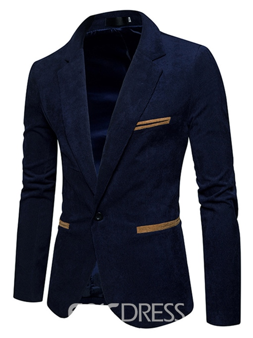 Ericdress Plain One-Button Slim Fit Men's Casual Jacket Blazer