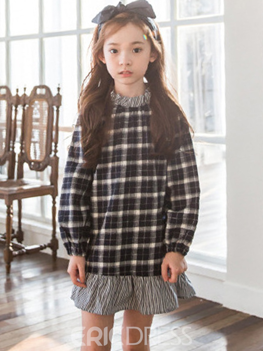 Ericdress Plaid Falbala Patchwork A-line Girls' Dress