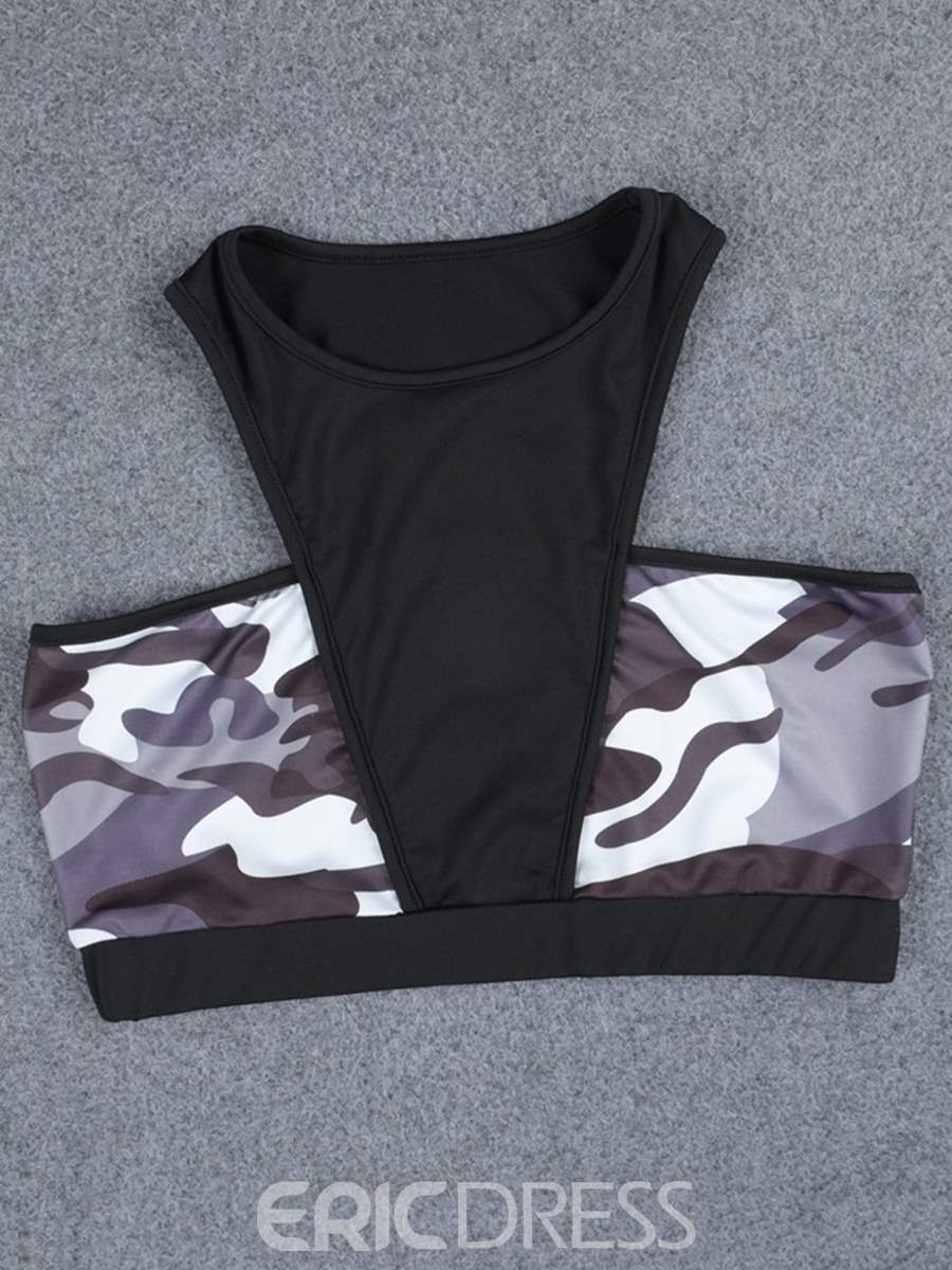 Ericdress Print Anti-Sweat Camouflage Pullover Yoga Sports Sets