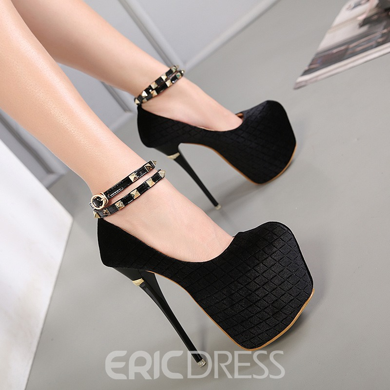 Ericdress Rivet Platform Plain Stiletto Heel Prom Shoes