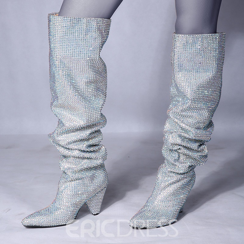 Ericdress Chic Plain Rhinestone Pointed Toe Knee High Boots