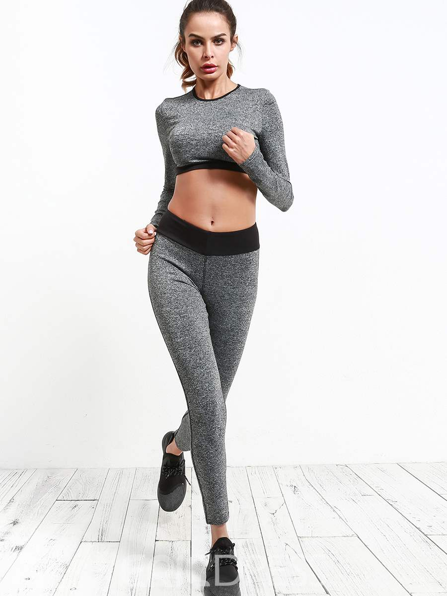 Ericdress Breathable Solid Patchwork Running Long Sleeve Sports Sets
