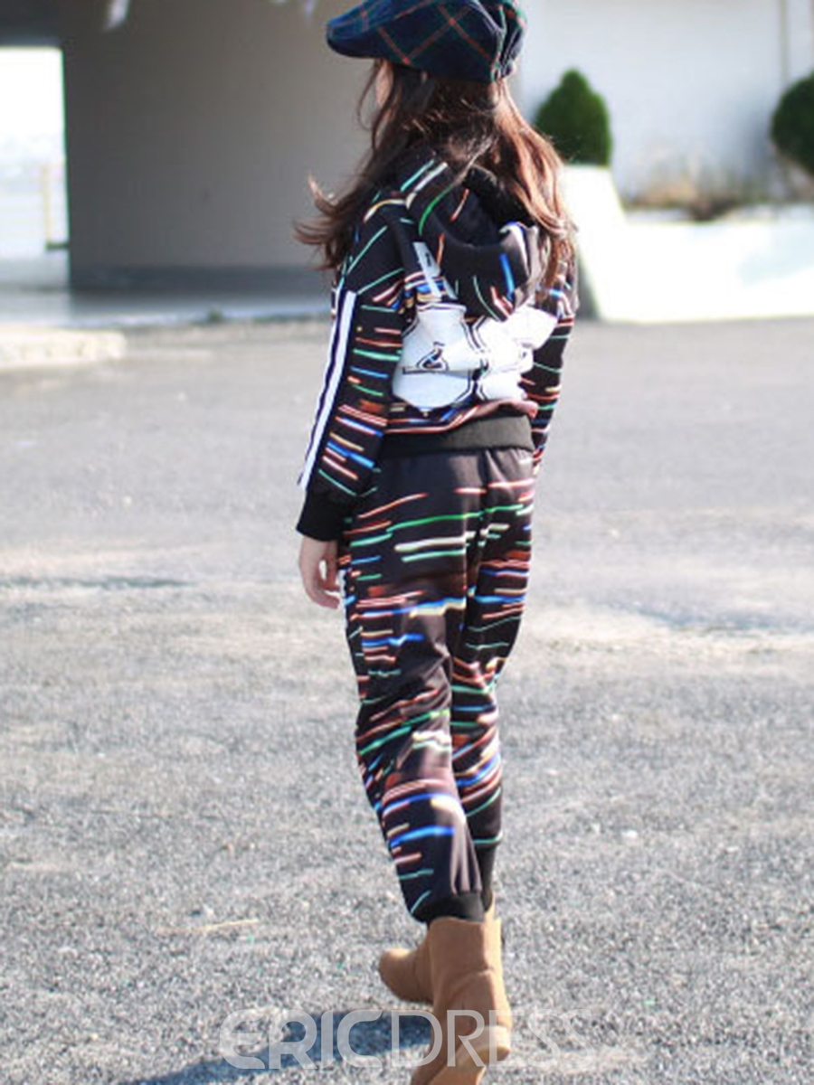 Ericdress Stripe Hoodie with Harem Pants Girls' Outfit