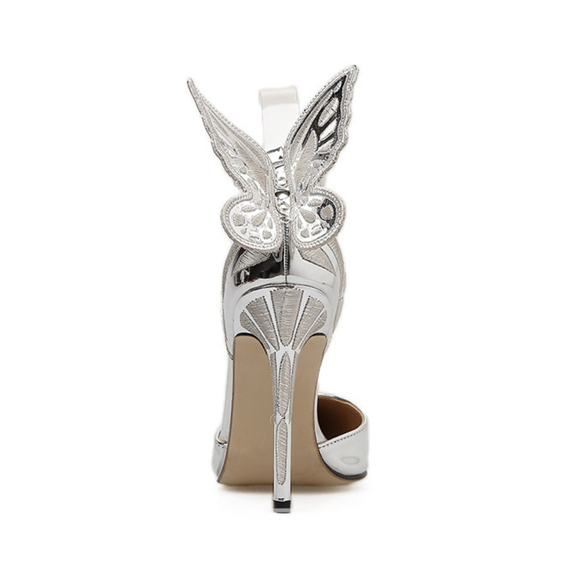 Ericdress Wing Pointed Toe Plain Stiletto Heel Pumps