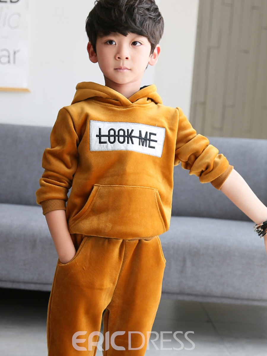 Ericdress Velvet Letter Print Hoodie with Pants Boys' Outfit