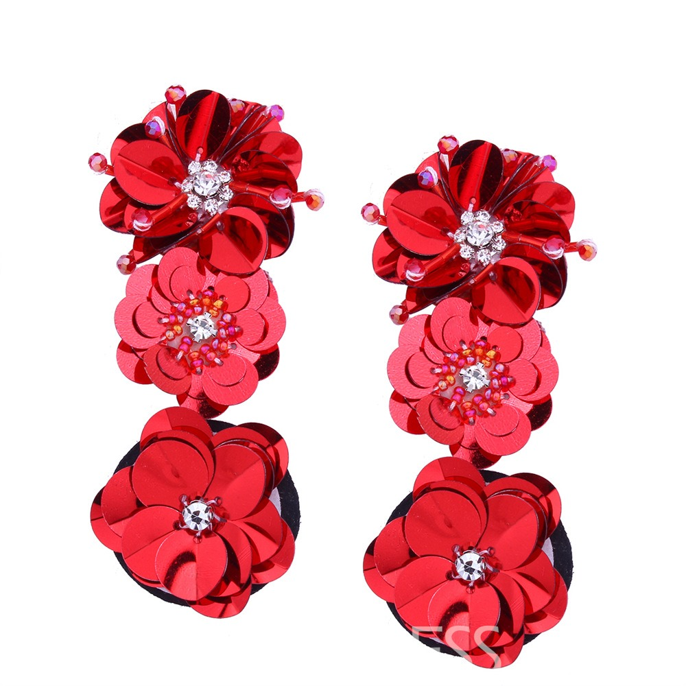 Ericdress Flower Shaped Long Diamante Earring
