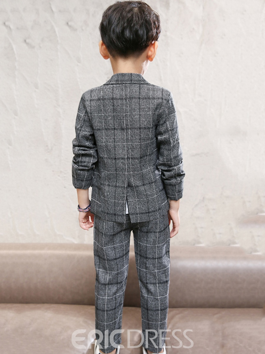 Ericdress Plaid Single-breasted Jacket with Pants Boys' Suit