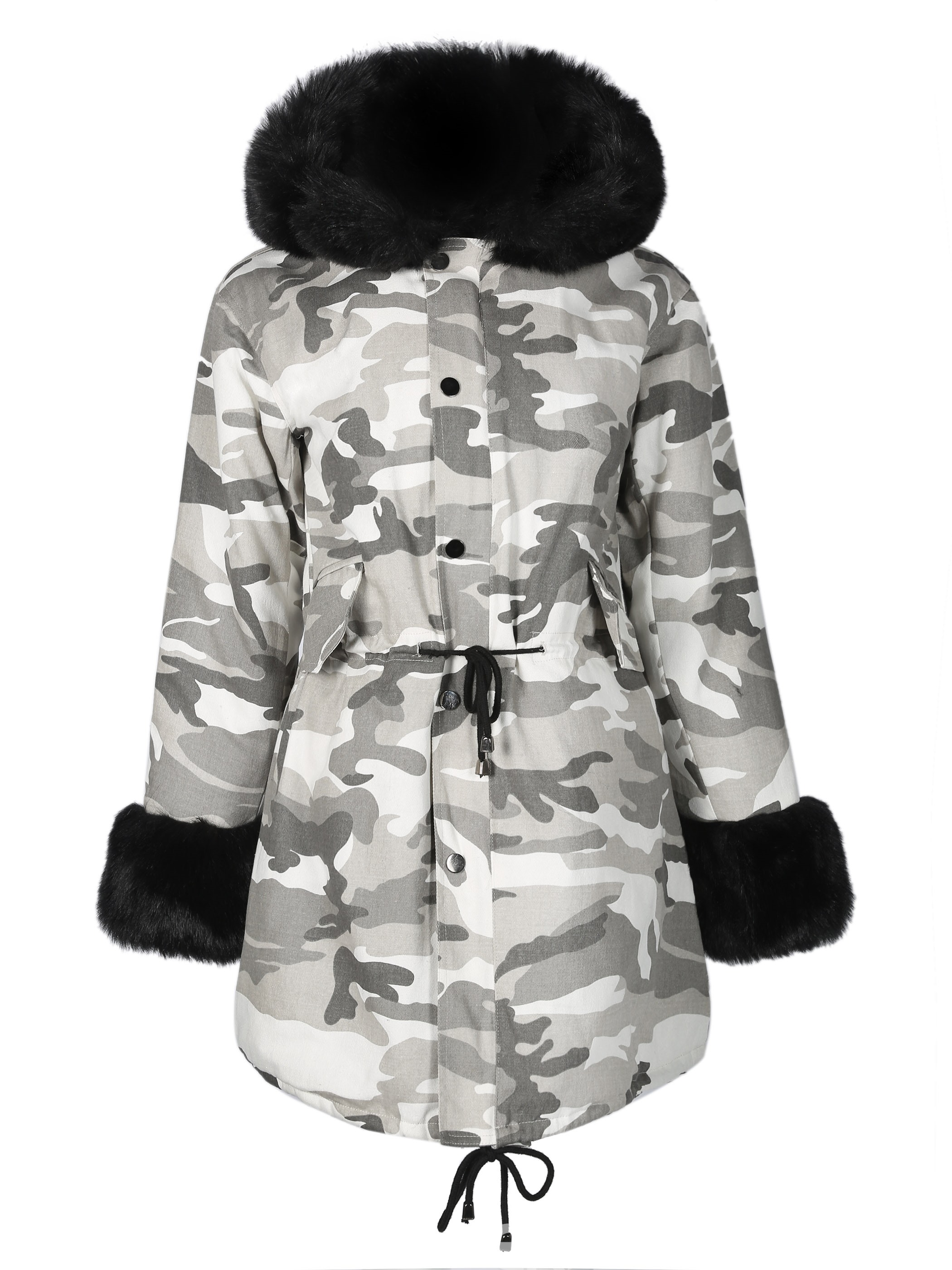 Ericdress Fur Thick Camouflage Mid-Length Hooded Coat