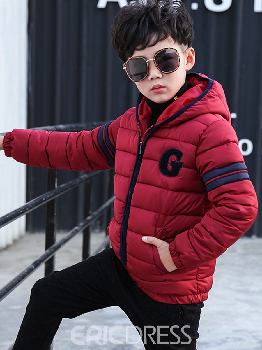 Ericdress Color Block Hooded Zipper Boys' Down Jacket