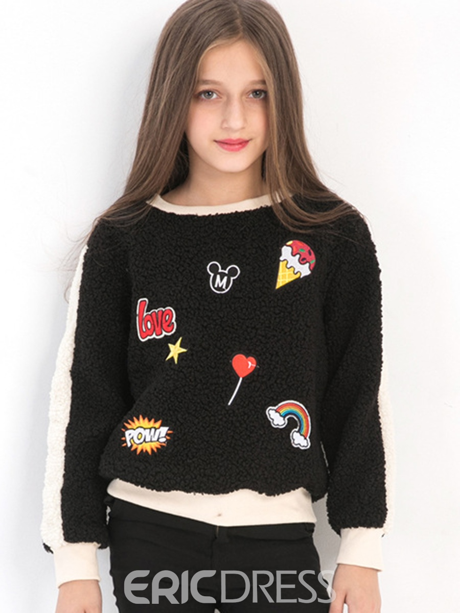 Ericdress Thick Cartoon Patch Girl's Sweater