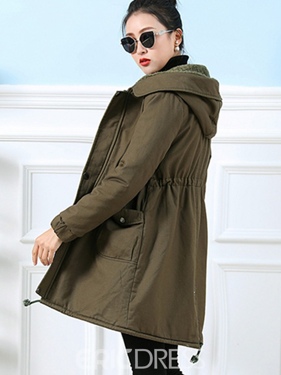 Ericdress Loose Plain Rivet Mid-Length Coat