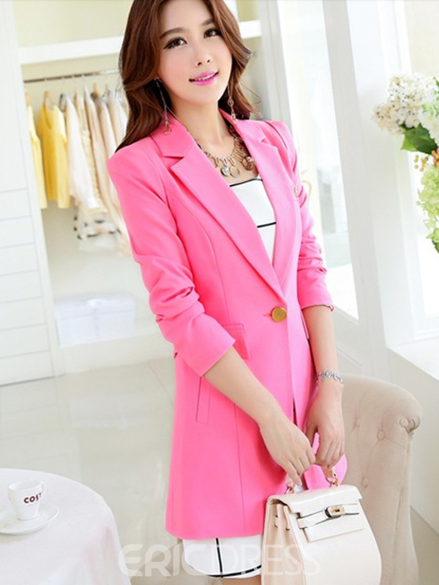Ericdress Plain Slim One Button Mid-Length Casual Blazer