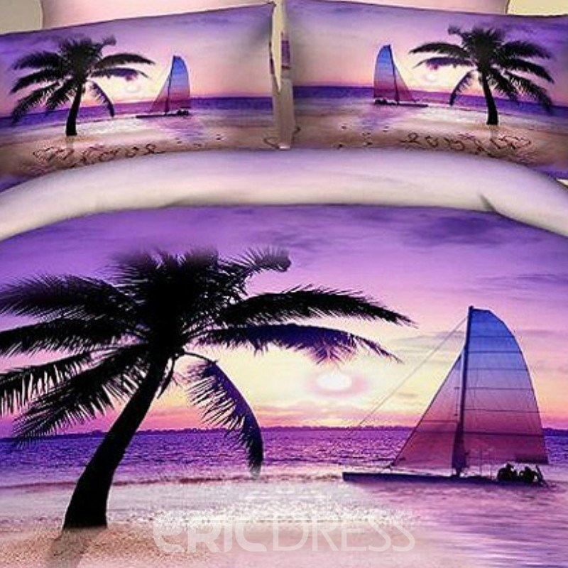 Vivilinen Palm Beach Sea of Love 4 Piece Bedding Sets/Duvet Cover Sets