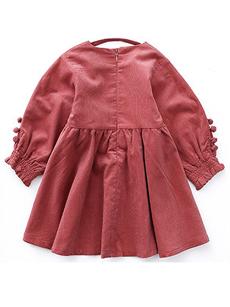 Ericdress V-neck Puff Sleeve A-line Girls' Dress
