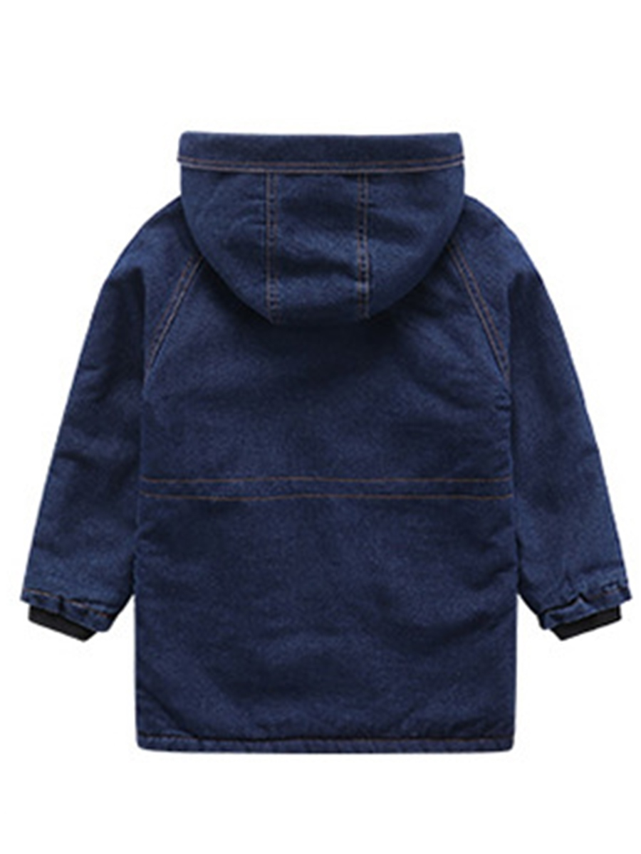Ericdress Denim Fleece Patchwork Hooded Boys' Jacket