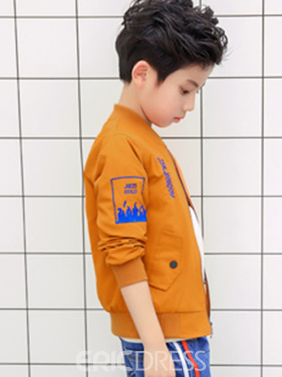 Ericdress Number Print Zipper Baseball Boys' Jacket