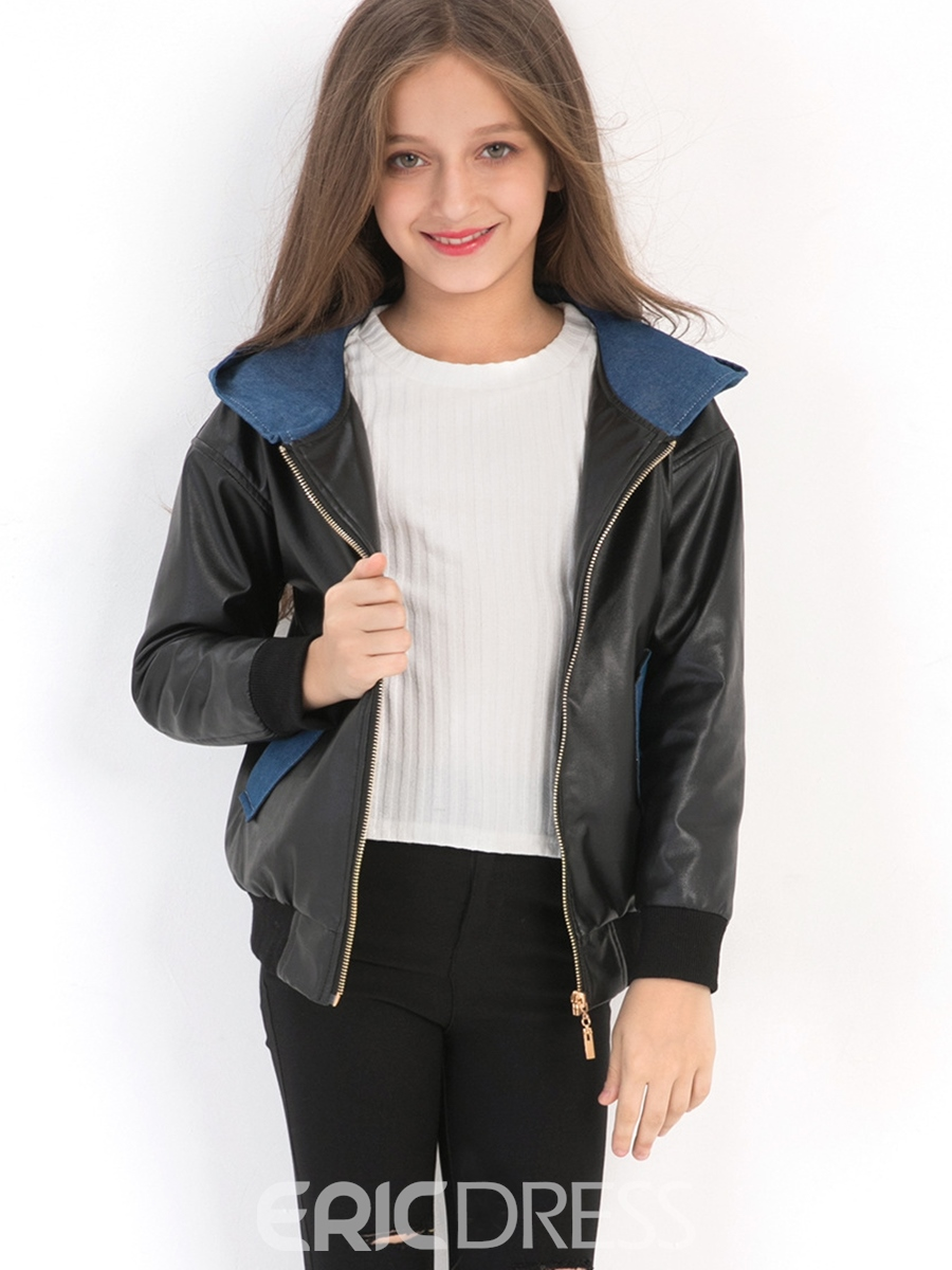 Ericdress Color Block Hooded Girls' PU Jacket