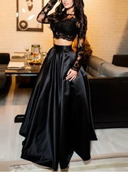 Ericdress A Line Two Pieces Long Sleeve Lace Prom Dress фото