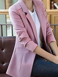 Ericdress Plain Single Button Mid-Length Blazer