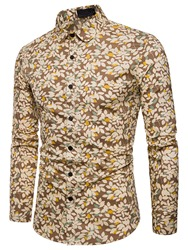 Ericdress Lapel Floral Print Long Sleeve Slim Mens Shirt