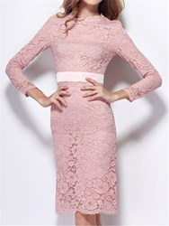 Ericdress Trendy Sheath Long Sleeves Lace Knee-Length Cocktail Dress