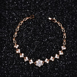 Ericdress Zircon Flower Rose Gold Bracelet for Women