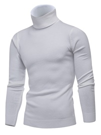 Ericdress High Neck Plain Men's Slim Sweater