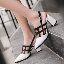 Ericdress Color Block Slingback Strap Block Heel Sandals